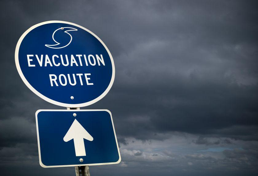 """Straßenschild """"Evacuation Route"""""""